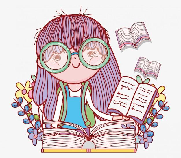 Menina, ler, livro, com, flores, plantas