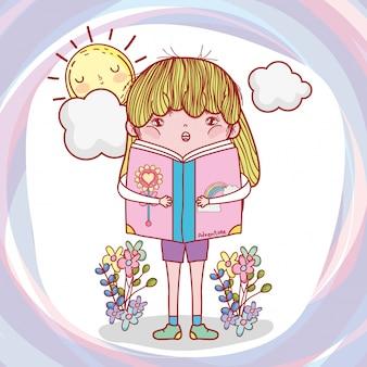 Menina, ler, livro, com, plantas, e, sol