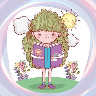 Menina, ler, livro, com, sol, e, flores