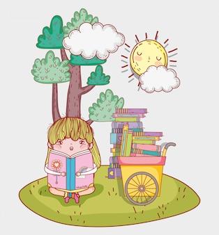 Menina ler livro de literatura com carrinho de mão