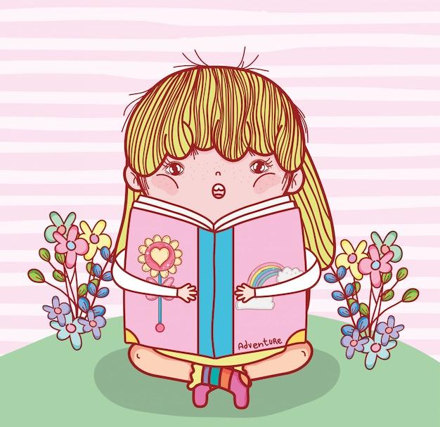 Menina, ler, livro, literatura, com, plantas