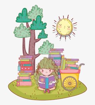 Menina ler livros com carrinho de mão
