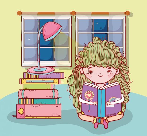 Menina ler livros com lâmpada e janela