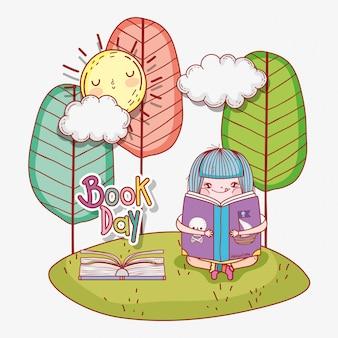 Menina ler livros com sol e árvores