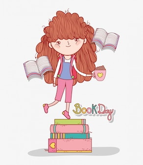 Menina ler livros no dia da literatura