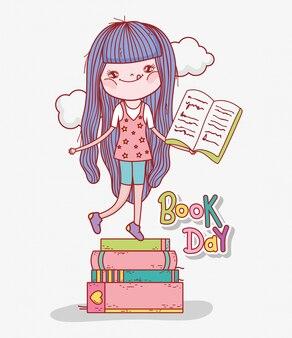 Menina ler livros para aprender no dia da literatura