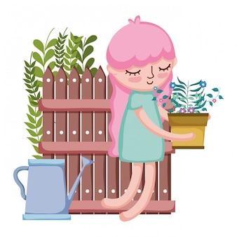 Menina levantando a planta de casa com aspersão e vedação