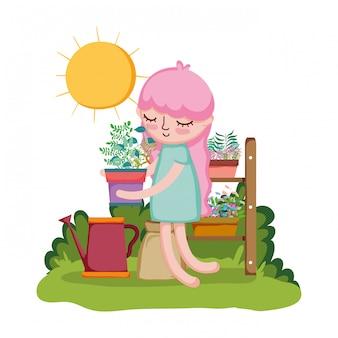 Menina levantando a planta de casa com aspersor e prateleira