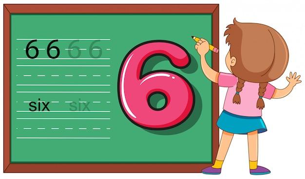Menina, ligado, numere seis, worksheet