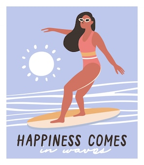 Menina, ligado, surfboard