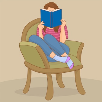 Menina, ligado, um, sofá, lendo um livro