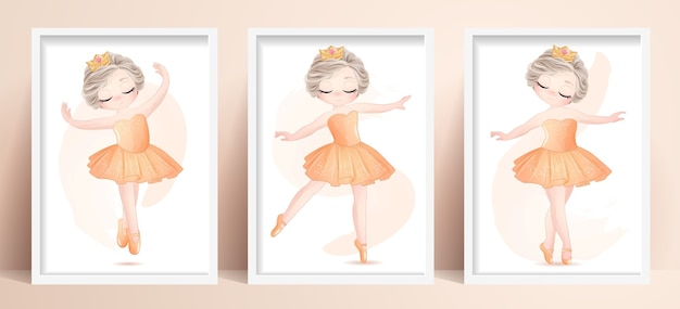 Menina linda bailarina com ilustração em aquarela