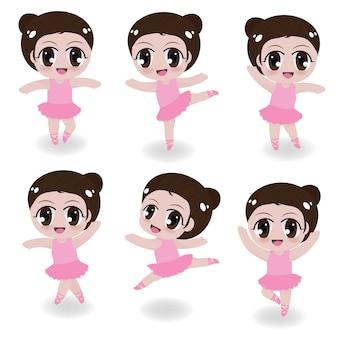 Menina linda bailarina na coleção de vestido rosa