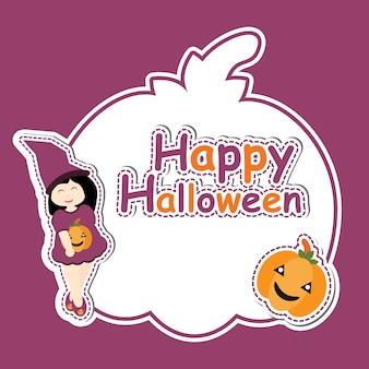 Menina linda como bruxa e abóbora em desenhos animados de vetor de abóbora, cartão postal de halloween, papel de parede e cartão de saudação, design de t-shirt para crianças