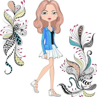 Menina linda e bonita na moda hippie com uma jaqueta vermelha e saia branca e um padrão de rabiscos e flores