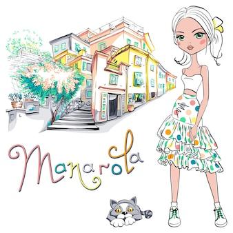 Menina linda linda moda com vestido de verão e gato fofo em manarola, cinco terras, parque nacional de cinque terre, ligúria, itália.
