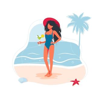 Menina linda mulher na praia em um maiô e com um coquetel na mão à beira-mar na areia. pessoas da praia do mar viajando banner, símbolo de férias de verão. ilustração vetorial