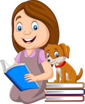 Menina, livro leitura, com, cute, cão pequeno