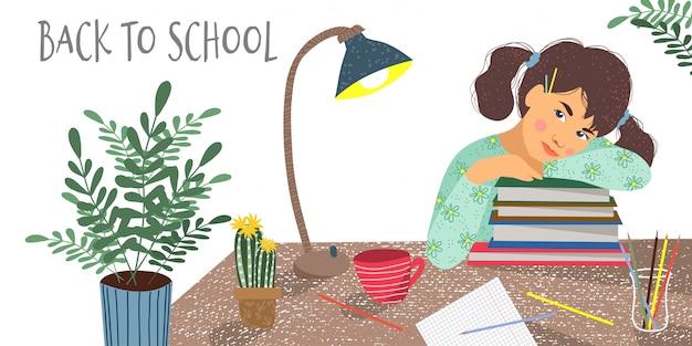 Menina, livros, caderno, flores e lâmpada de mesa em uma mesa
