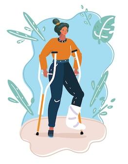 Menina loira com deficiência de muletas com uma perna quebrada, ilustração vetorial editável, clip-art vetorial