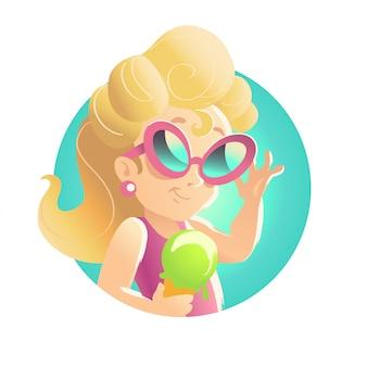 Menina loira com sorvete. ilustração.