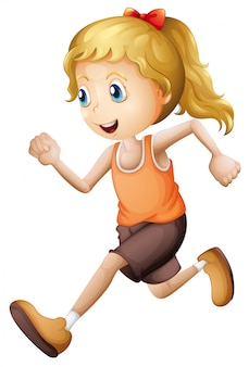 Menina loira correndo isolado