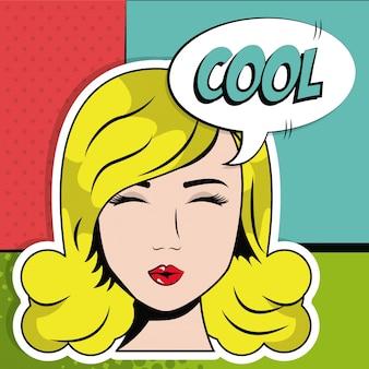Menina loira olhos próximos cool bubble speech pop art