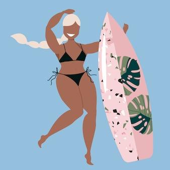 Menina loira segurando a prancha de surf. uma garota com uma prancha de surf. mulher bronzeada beleza surfista. verão ativo esportes desenhados à mão ilustração. design de cartaz havaiano na moda para web e impressão.