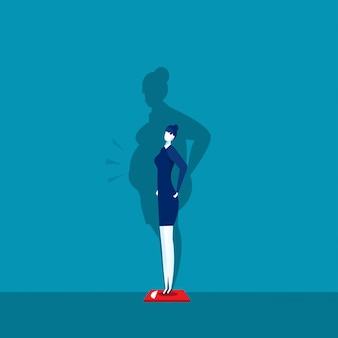 Menina magro pesando escalas com sombra gorda.