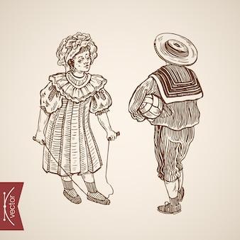 Menina menino vista traseira tradicionalmente vestida à moda antiga vestido de terno chapéu pular corda bola conjunto.