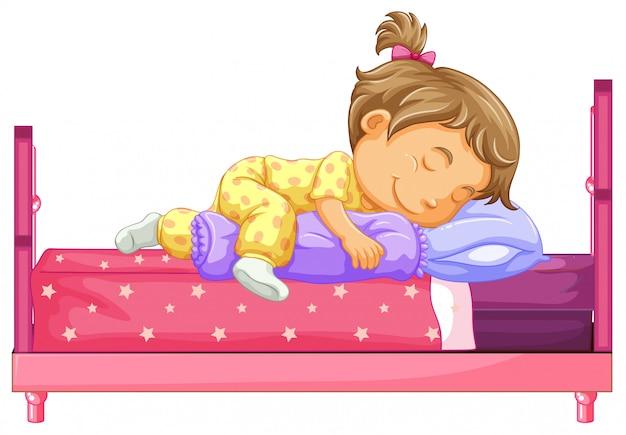 Menina, mentindo cama