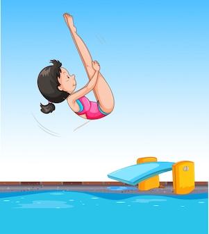 Menina, mergulhando, em, piscina