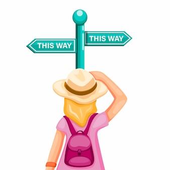 Menina mochileiro confusa escolher caminho na tabuleta de estrada