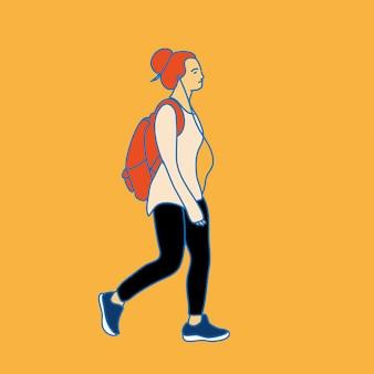 Menina moderna com mochila e fones de ouvido