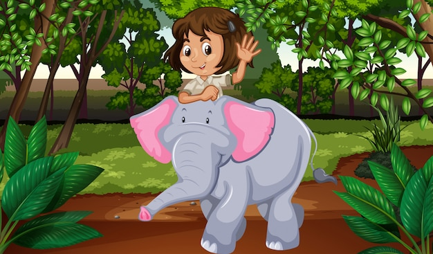 Menina, montando, elefante, através, selva