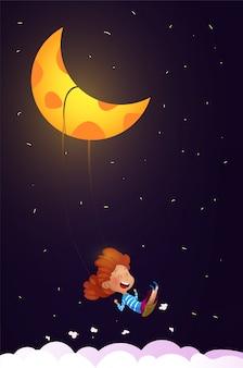 Menina, montando um balanço no meio da noite. vetor