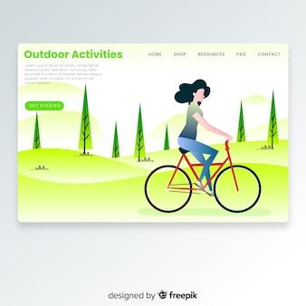 Menina, montando, um, bicicleta, aterrando página