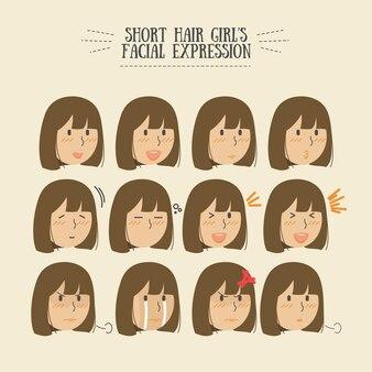 Menina morena cabelo expression set facial