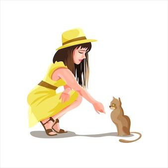Menina morena com um chapéu e um vestido amarelo se senta e estende a mão para o gatinho. lindo gatinho marrom. linda garota num lindo vestido. ilustração isolada em estilo cartoon.