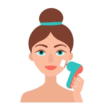 Menina morena limpa o rosto com uma escova elétrica. facial. limpeza e esfoliação. imagem plana em fundo branco