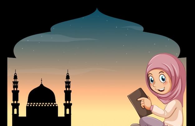 Menina muçulmana, com, mesquita