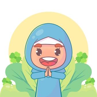 Menina muçulmana cumprimentando o ramadã kareem islâmico