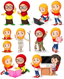 Menina muçulmana em ilustração de ações diferentes