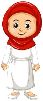 Menina muçulmana em roupas vermelhas e brancas