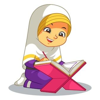 Menina muçulmana lendo o alcorão