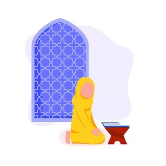 Menina muçulmana pouco recitar o alcorão Vetor Premium