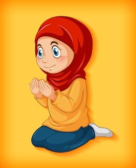 Menina muçulmana pratica religião