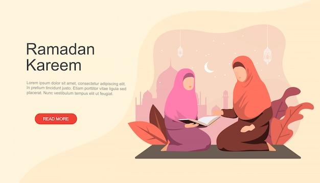 Menina muçulmana recita alcorão com a mãe