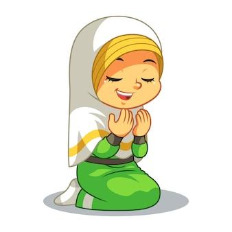 Menina muçulmana rezando dua
