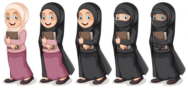 Menina muçulmana, segurando, livro